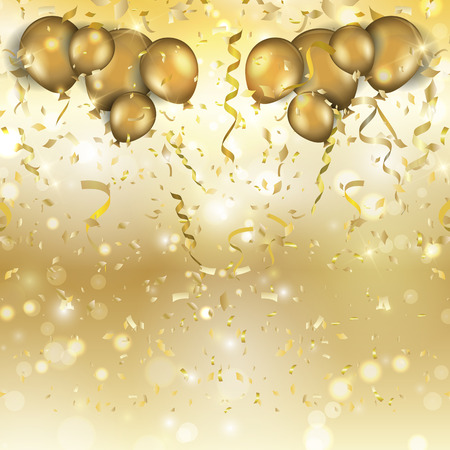 Gold background with balloons, confetti and streamers