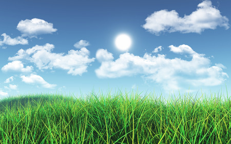 fluffy clouds: 3D render of a grassy landscape against a blue sky with fluffy white clouds
