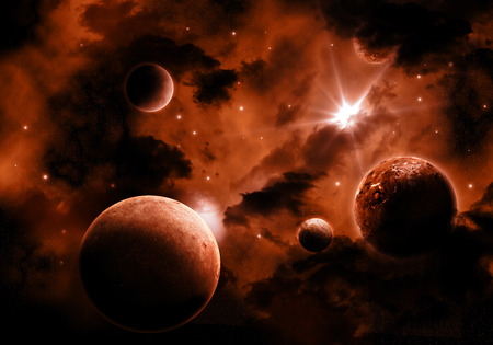 fiery: Space background with fiery sky and fictional planets