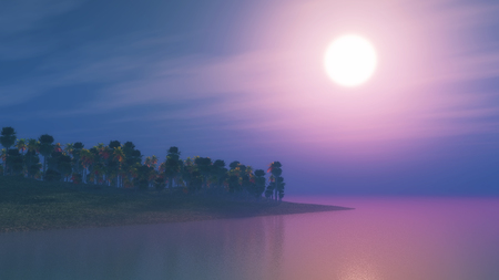 stones: 3D render of a palm tree island at sunset Stock Photo