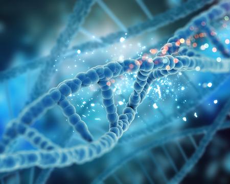 Il rendering 3D di un background medico con filamenti di DNA