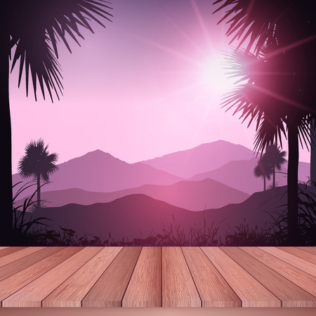 decking: Wooden decking looking out to a tropical landscape Stock Photo