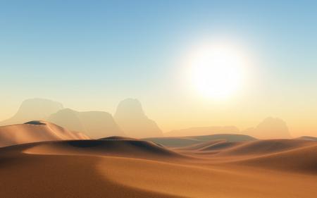 sand dune: 3D render of a hot sandy desert scene