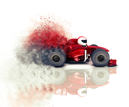 render: 3D render of a generic racing car with speed effect
