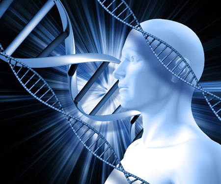 dna strands: 3D male figure with DNA strands on abstract background