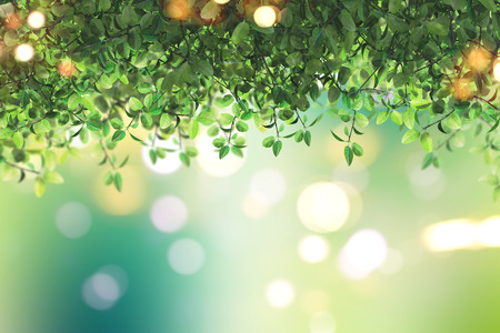 defocussed: 3D render of green leaves on a defocussed background
