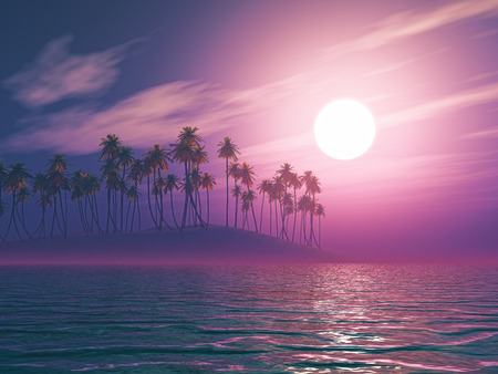 palm tree sunset: 3D render of a palm tree island against a purple sunset sky Stock Photo