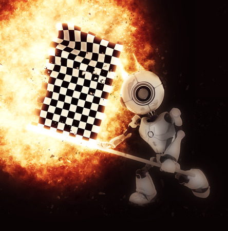 chrome man: 3D render of a robot with a chequered flag and explosion effect