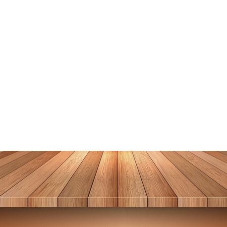 Empty wooden decking on a white background