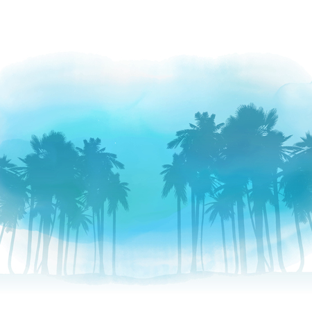 trees seasonal: Silhouettes of palm trees on a watercolor wash background Stock Photo