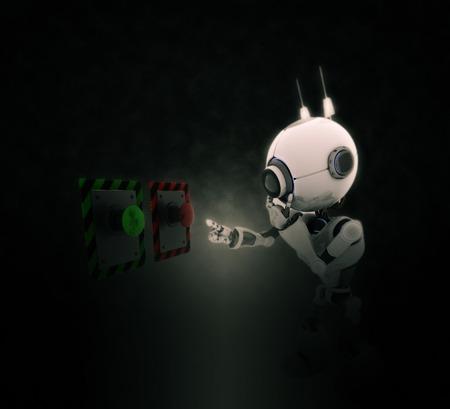 3 D レンダリング ロボットの劇的な背景にプッシュするボタンを選択します。