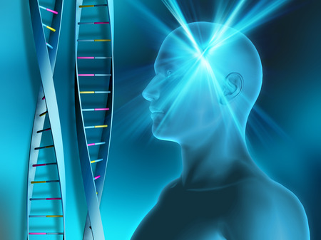 dna strands: DNA strands on abstract background with male head