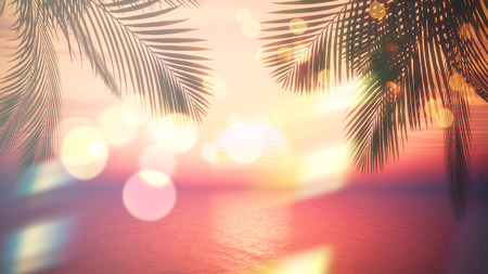 fronds: 3D render of view of a sunset ocean through palm tree fronds with vintage effect