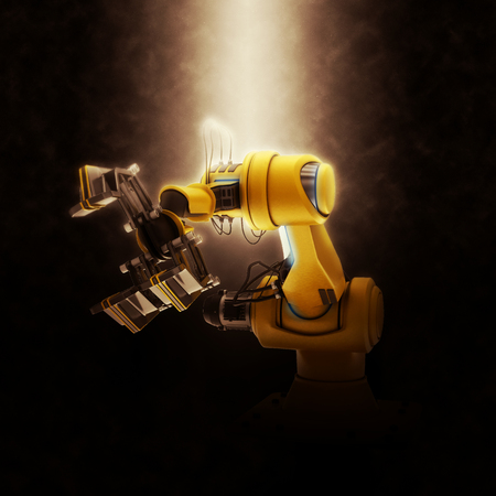 mano robotica: Renderizado 3D de una Brazo robótico industrial en un fondo dramático
