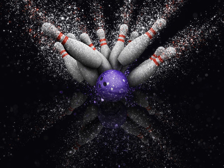 skittles: 3D render of bowling skittles with glitter effect