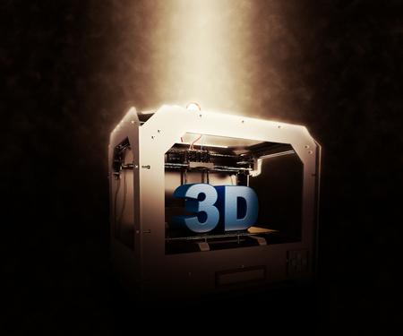 3 D レンダリングの 3 次元プリンター劇的な背景に 写真素材