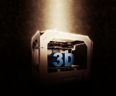 electrical materials: 3D Render of 3 Dimensional  Printer on a dramatic background Stock Photo
