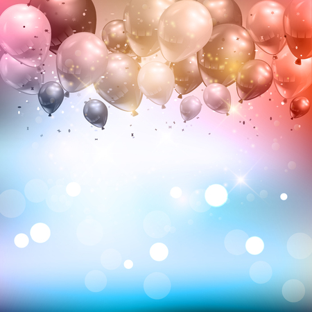 celebration background: Celebration background of balloons and confetti Stock Photo