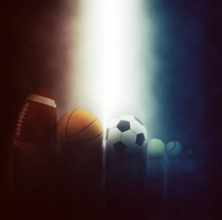 sports balls: 3D render of various sports balls on dramatic background