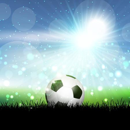 blue ball: Soccer ball nestled in grass against a blue sunny sky