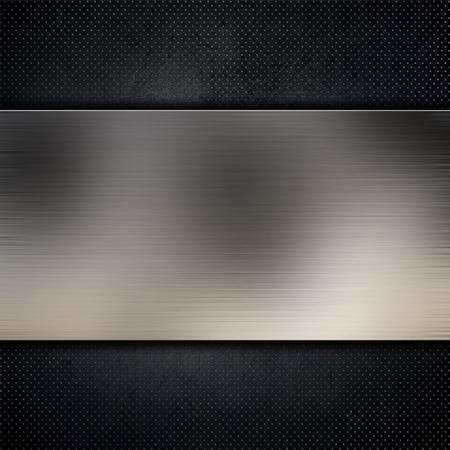 rivet: Brushed metallic plate on a dark grunge background