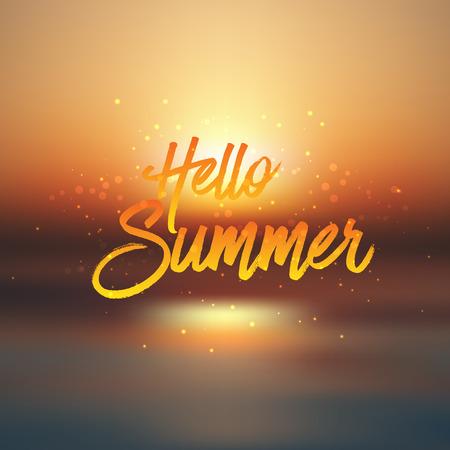 defocussed: Summer background with defocussed sunset sea image Stock Photo