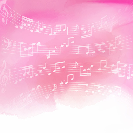 music background: Music notes on a pink watercolor background