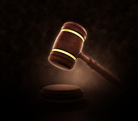 counsel: 3D render of a gavel on a dramatic background Stock Photo