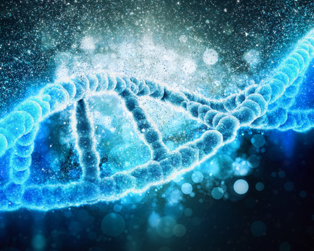 microcosmic: 3D medical background with DNA strand Stock Photo