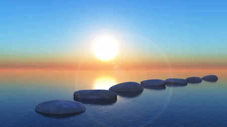 3D render of stepping stones in the ocean at sunset