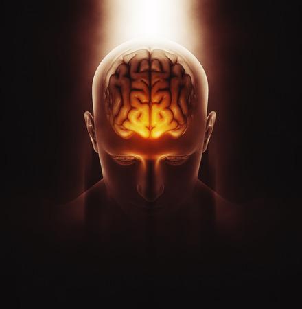 3D geef van een medisch beeld van een mannelijke figuur met hersenen gemarkeerd en dramatische gemarkeerd Stockfoto