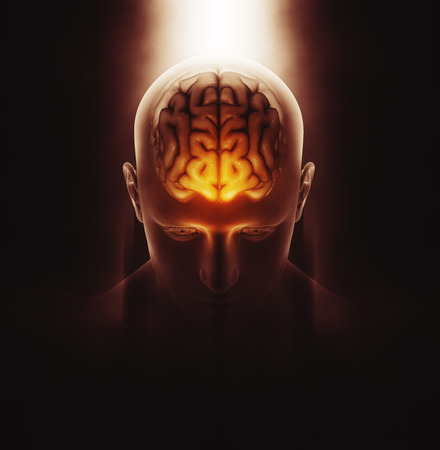 3D renderowanie obrazu medycznego męskiego postać z mózgu podświetlony i dramatyczne podświetlony Zdjęcie Seryjne