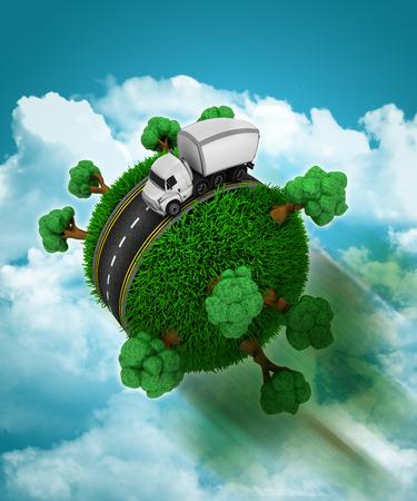 grassy: 3D render of a truck on a grassy globe speeding through a cloudy sky Stock Photo