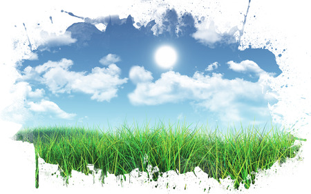 3D render of a grassy landscape against a blue sky with fluffy white clouds with a paint splatter frame Stock Photo