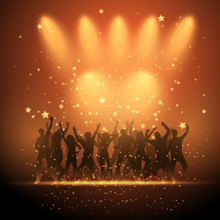Silhouettes of party people dancing on a starry background