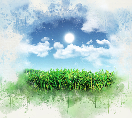 grassy: 3D render of a grunge painted style grassy landscape against a blue sky with fluffy white clouds Stock Photo