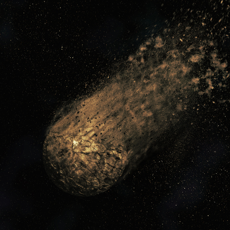 though: 3D render of an asteroid flying though a night sky