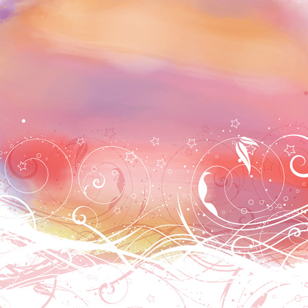 emo: Decorative floral design on a watercolor background