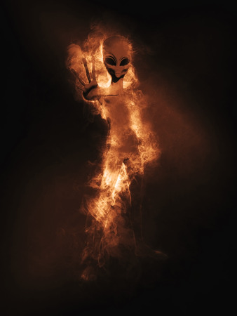 haunting: 3D render of an alien figure appearing out of smoke and flames