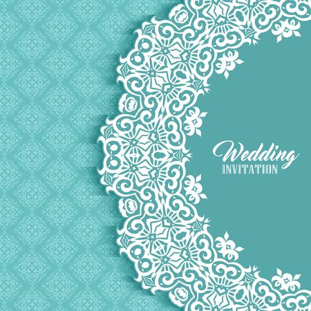 Fondo de invitación de boda decorativa con diseño de estilo Damasco