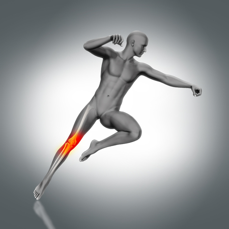 partial: 3D render of a medical figure with partial skeleton in jump pose