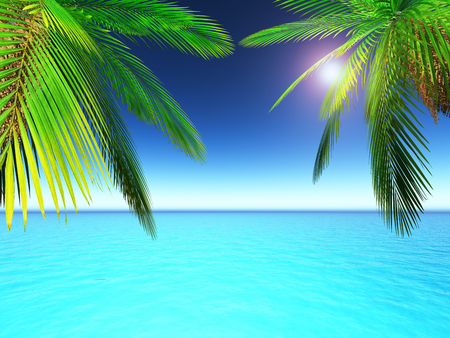 blue widescreen widescreen: 3D render of palm trees against a tropical ocean scene