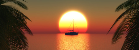 sea transport: 3D render of a yacht on a sunset ocean