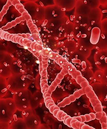 microcosmic: 3D render of a DNA strand on abstract blood cell background