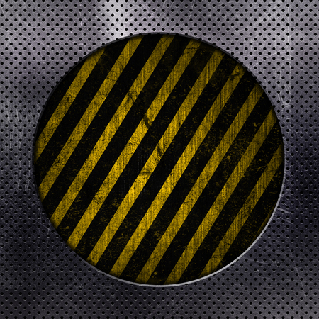 aluminium texture: Metallic background with circle cut out and yellow and black grunge stripes