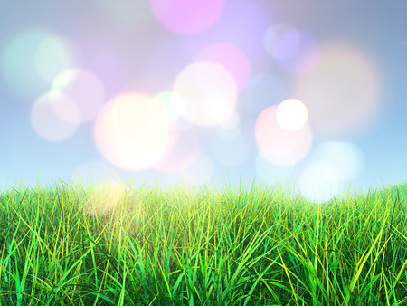 fields  grass: 3D render of grass against a bokeh lights background