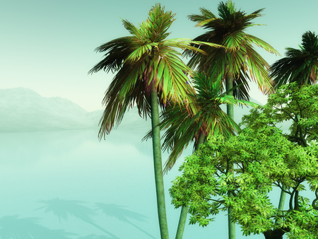 blue widescreen widescreen: 3D render of palm trees looking over a misty ocean
