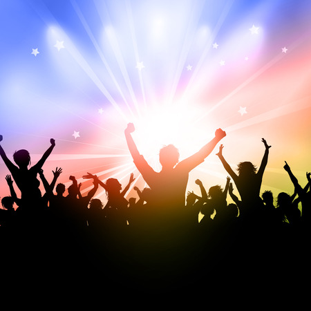woman male: Silhouette of a party crowd on a starburst background Illustration