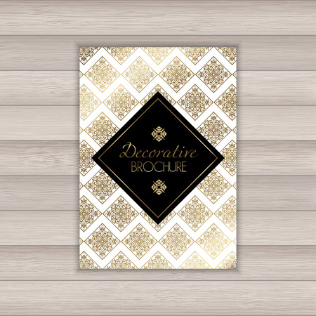 invitation cards: Brochure with a decorative gold and black design Illustration