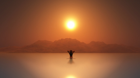 woman sunset: 3D render of a female in the sea at sunset